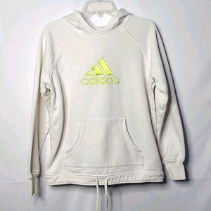 Adidas white hooded sweatshirt hoodie sz Large